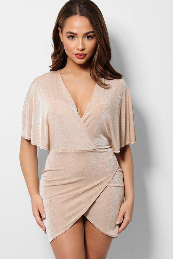 Nude Deep Plunge Wrap Front Mini Batwing Dress - SinglePrice