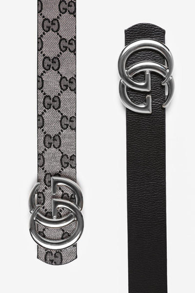 Silver Buckle Grey And Black Reversible Belt-SinglePrice