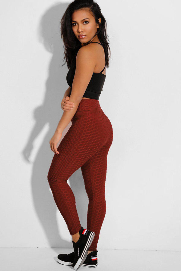 Brown Ruched Highwaist Stretchy Leggings - SinglePrice