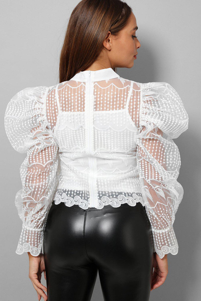 White Lace Puff Sleeves Pussy Bow Blouse - SinglePrice