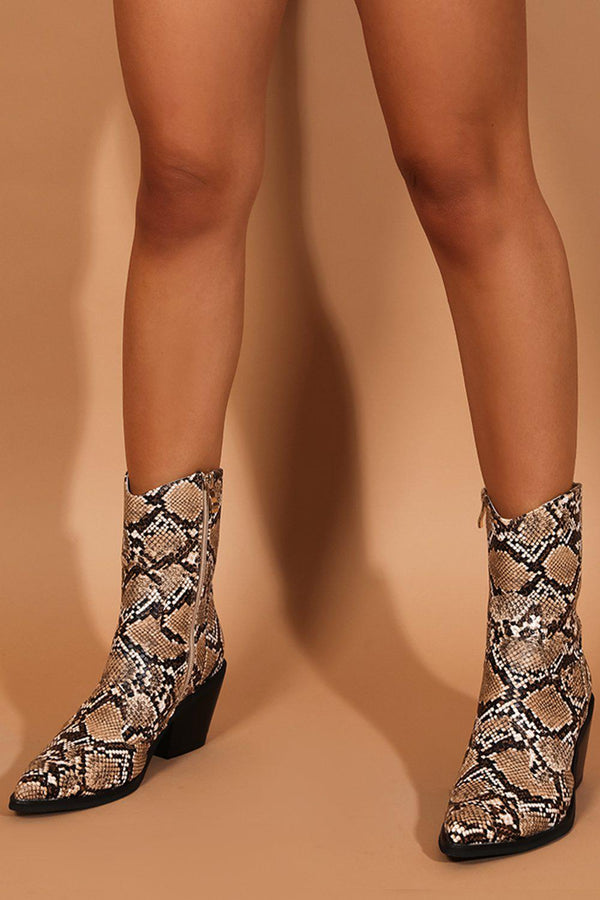 Beige Vegan Leather Python Print Cowboy Boots - SinglePrice