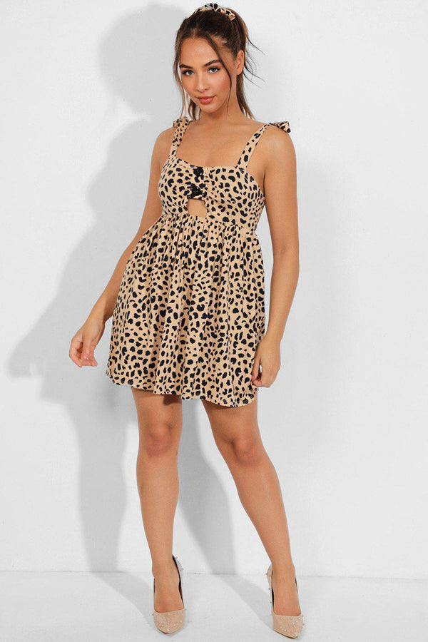 Leopard Print Peek-a-Boo Dress With Hairband - SinglePrice