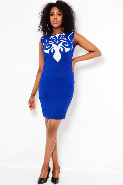 White Front Baroque Details Blue Dress-SinglePrice
