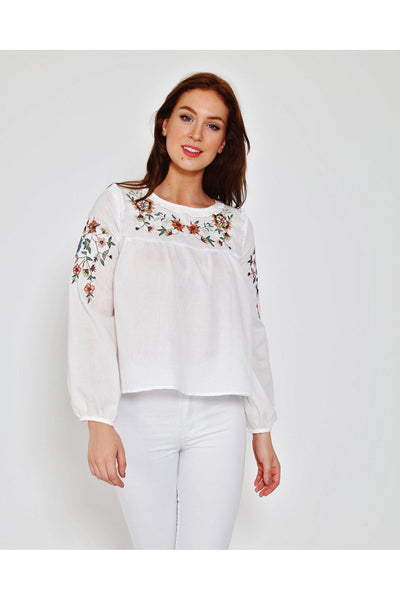 Floral Embroidery White Cotton Blouse-SinglePrice
