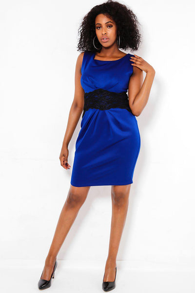 Embroidered Contrast Waist Blue Dress-SinglePrice