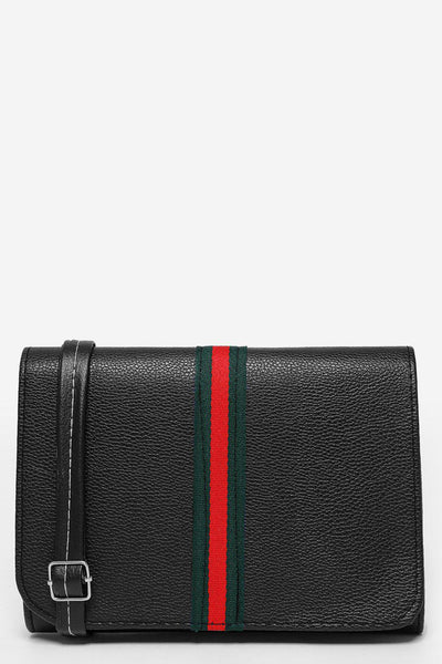 Tape Stripe Flap Black Clutch-SinglePrice