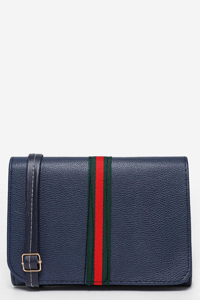 Tape Stripe Flap Navy Clutch-SinglePrice