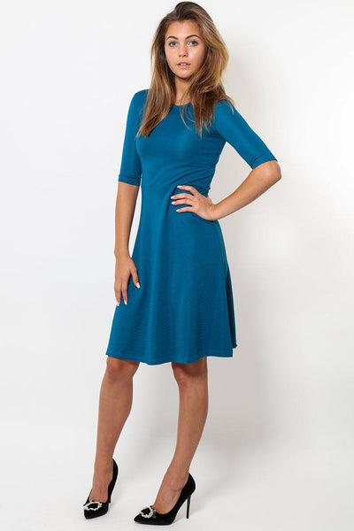 3/4 Sleeves Smart Blue Skater Dress-SinglePrice