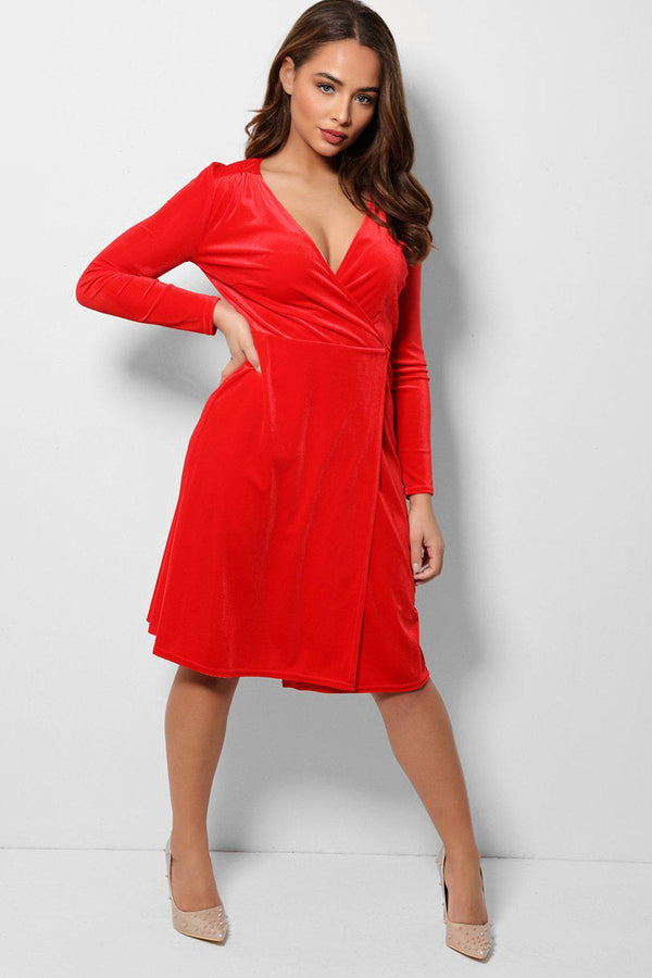 Red Velvet Wrap Midi Dress-SinglePrice
