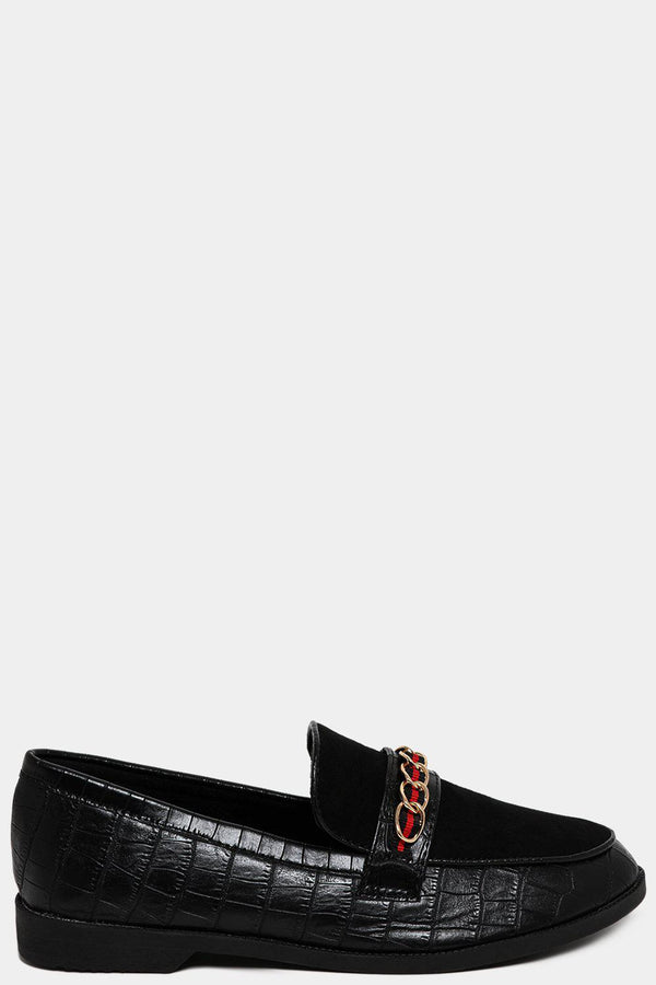 Chain Tape Stripe Front Black Mock Croc Loafers-SinglePrice