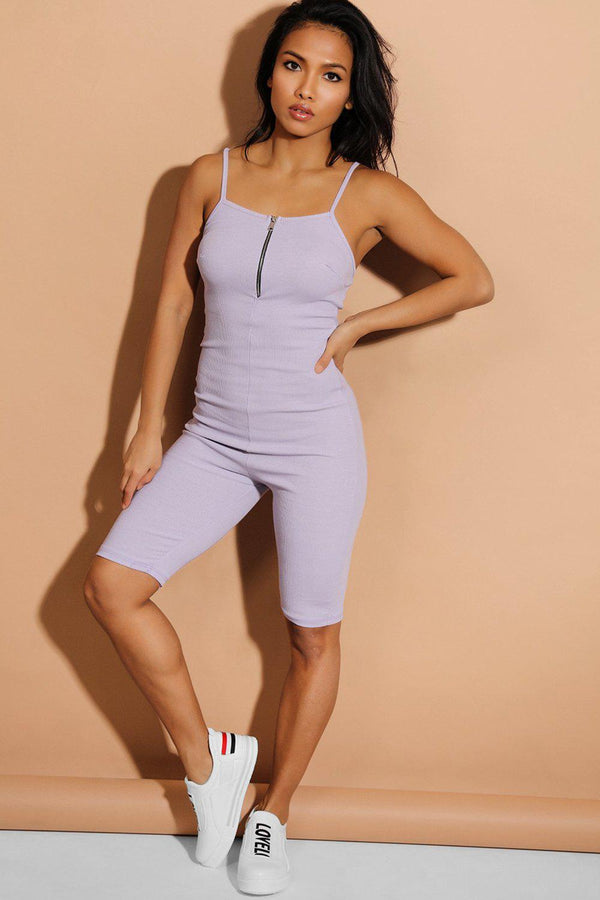 Lilac Zip Front Ribbed Cami Unitard - SinglePrice