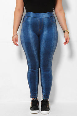 Bleached Stripes Blue Denim Print Leggings-SinglePrice