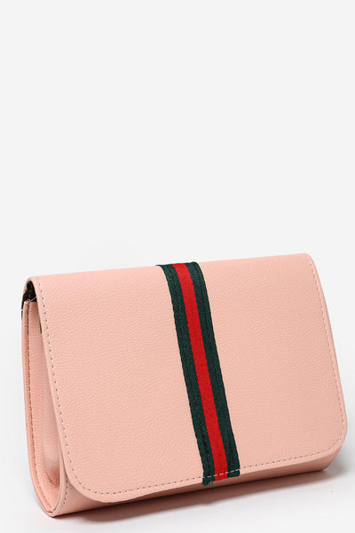 Tape Stripe Flap Pink Clutch-SinglePrice