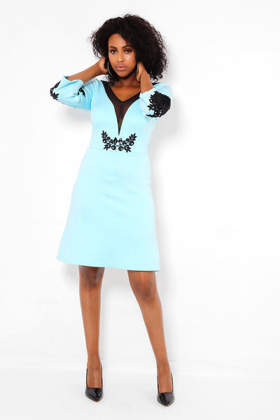 Black Lace Details Sky Blue Dress-SinglePrice