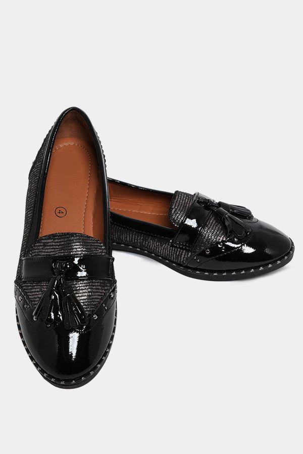 Studded Tassel Front Black Patent Brogue Loafers-SinglePrice