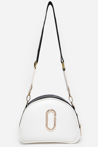 Double Gold Zips White Handbag-SinglePrice