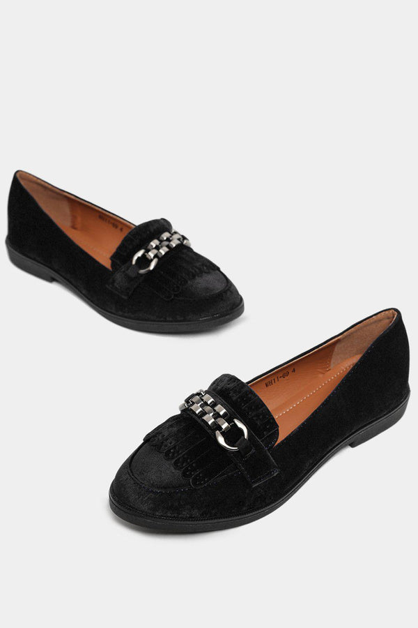 Black Velvet Fringed Chain Detail Loafers-SinglePrice