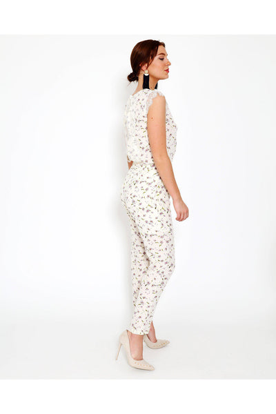 Cream Floral Print Open Back Jumpsuit-SinglePrice