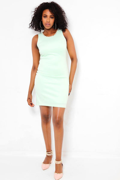 Perals Embellished Neckline Light Green Dress-SinglePrice