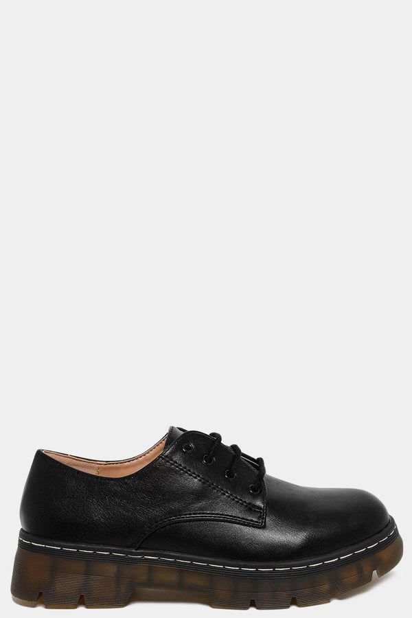 White Stitch Ribbed Platform Black Oxford Shoes-SinglePrice