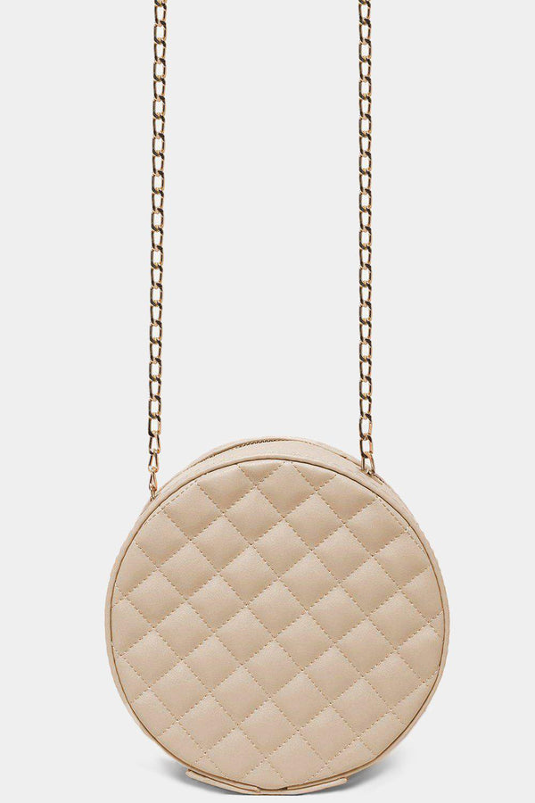Beige Round Quilted Shoulder Bag-SinglePrice