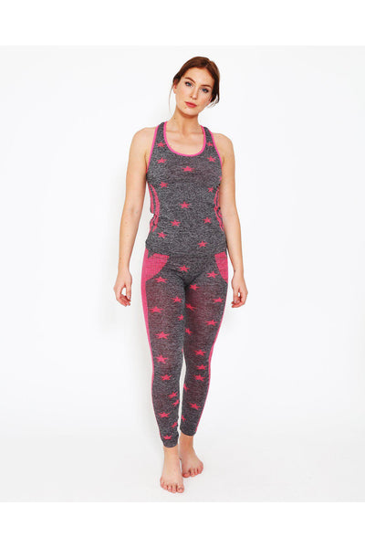 Pink Neon Stars Top And Leggings Sports Set-SinglePrice