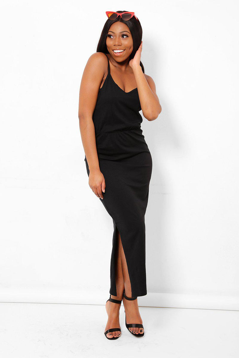 Side Split Black Cami Maxi Dress - SinglePrice