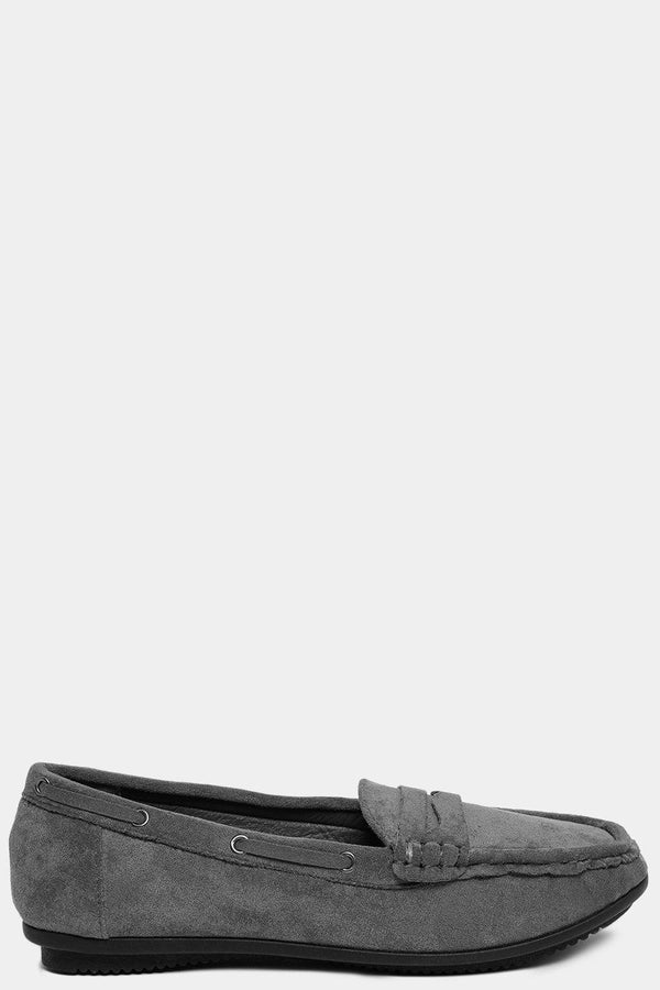 Vegan Suede Grey Classic Moccasins-SinglePrice
