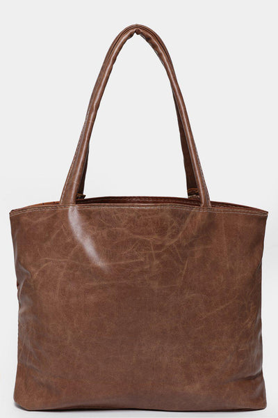 Textured Brown Tote-SinglePrice