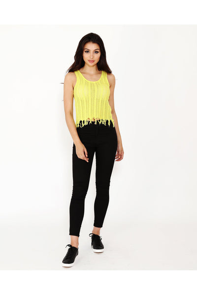 Crochet Fringed Yellow Top-SinglePrice