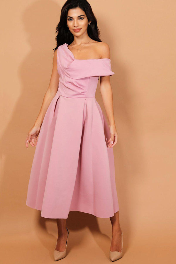 Pink One Shoulder Midi Scuba Dress - SinglePrice