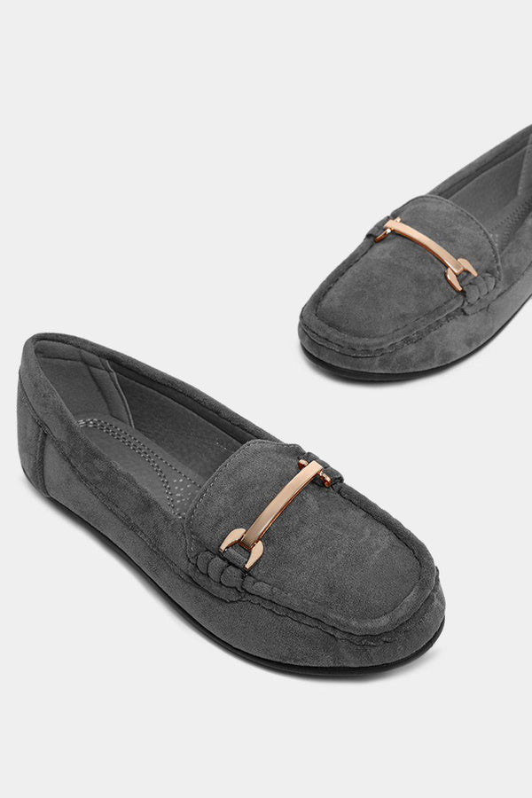 Gold Horsebite Detail Grey Vegan Suede Classic Moccasins-SinglePrice