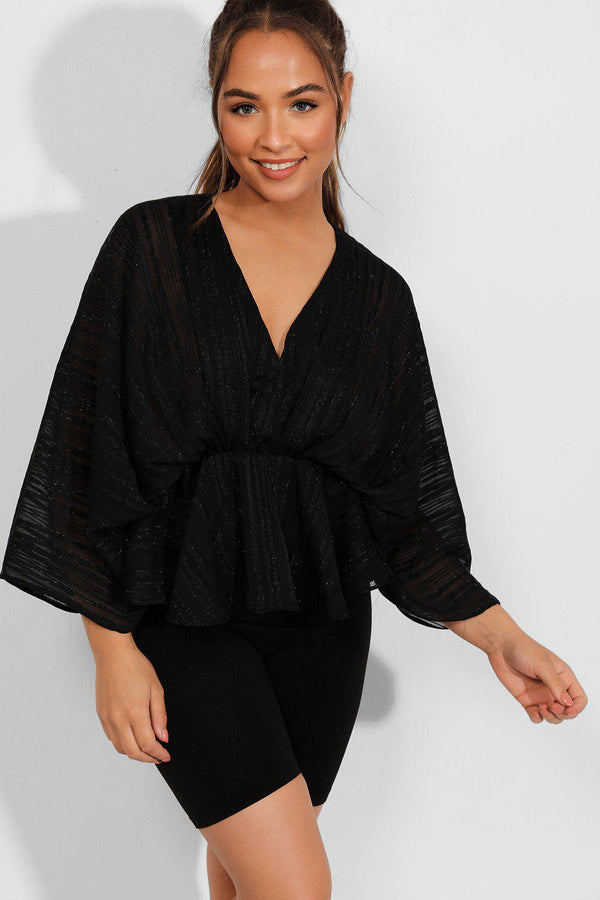 Black Lurex Stripe Batwing Top - SinglePrice