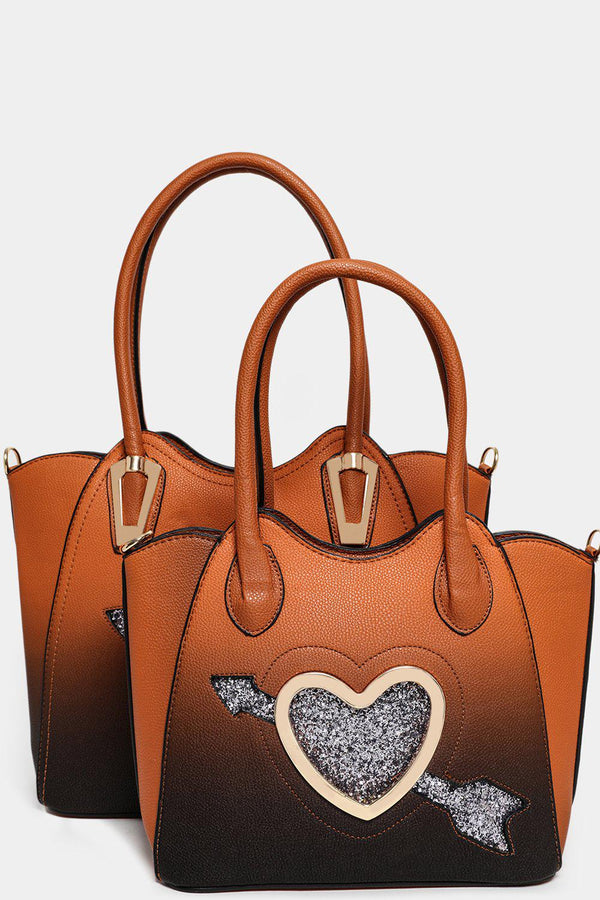 Large Glitter Heart Brown Black Ombre 3 In 1 Handbag Set - SinglePrice