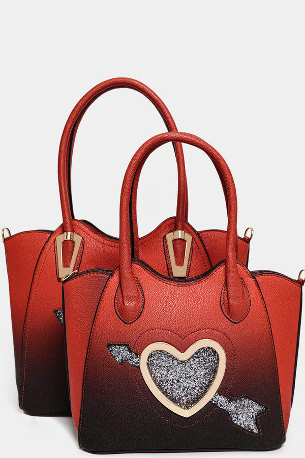 Large Glitter Heart Red Black Ombre 3 In 1 Handbag Set - SinglePrice