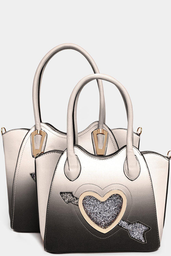 Large Glitter Heart White Black Ombre 3 In 1 Handbag Set - SinglePrice