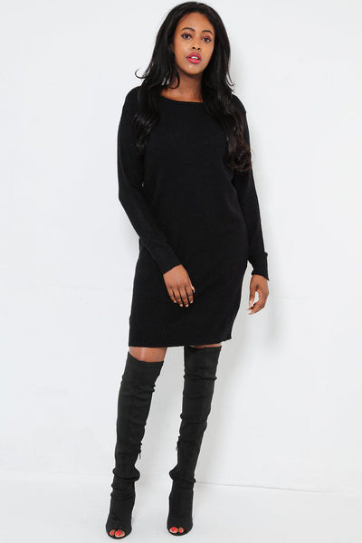 Super Soft Knit Black Knitted Dress