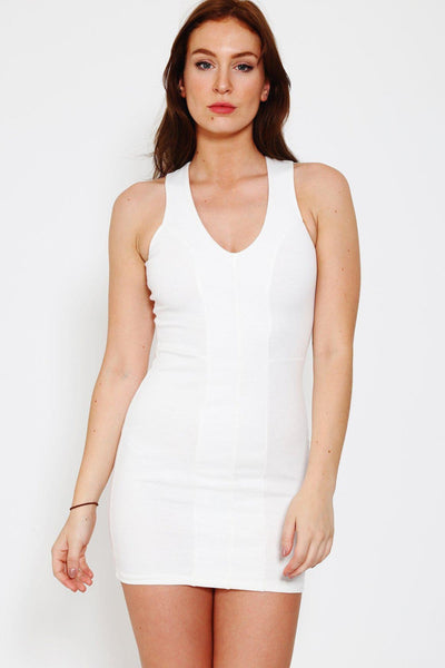 White V-Neck Bodycon Dress-SinglePrice