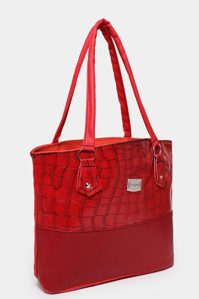 Textured Red Tote-SinglePrice