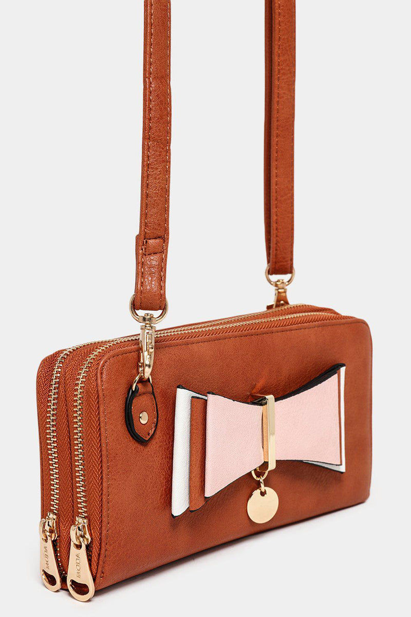 Front Layered Bow Detail Brown Mini Crossbody Bag - SinglePrice