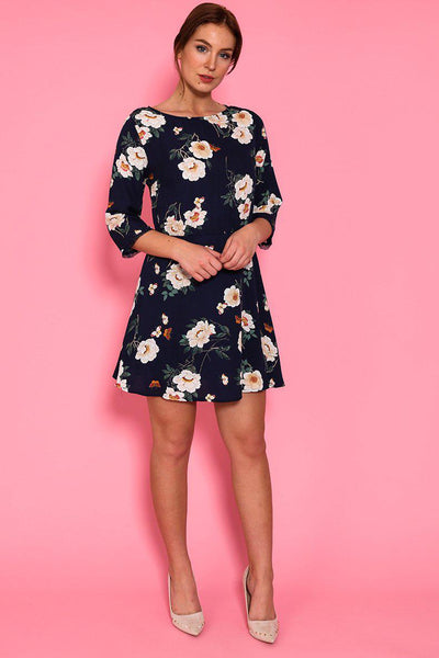 Dark Blue Floral Detailed Back Shift Dress-SinglePrice