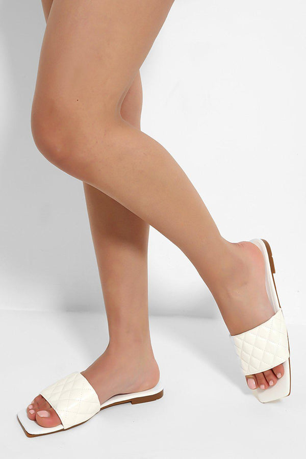 White Square Toe Quilted Sliders - SinglePrice