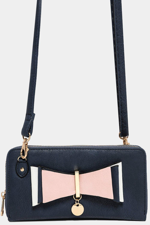 Front Layered Bow Detail Blue Mini Crossbody Bag-SinglePrice