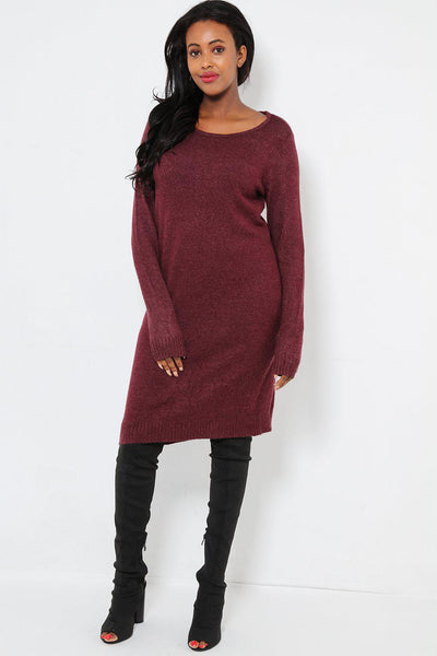 Super Soft Knit Maroon Knitted Dress