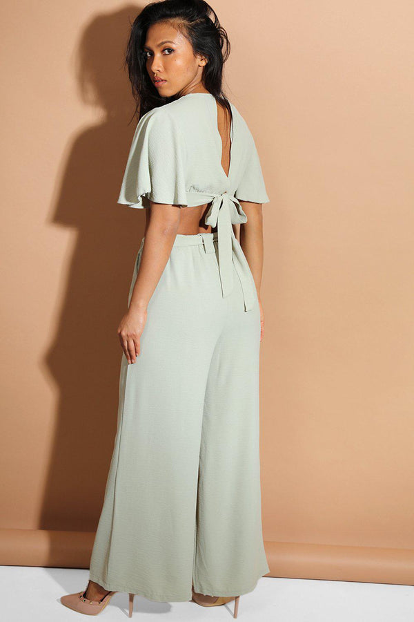 Blue Back Tie Crop Top And Palazzo Trousers Set - SinglePrice