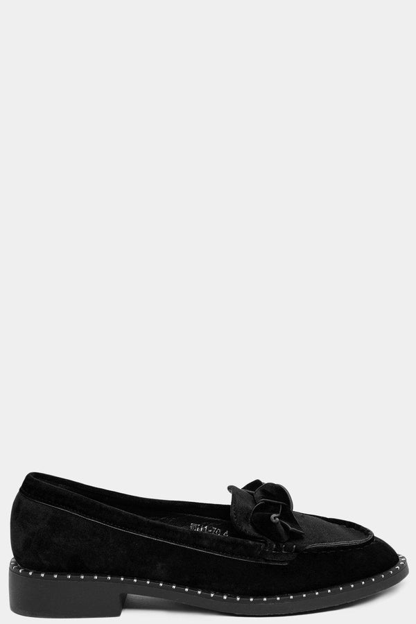 Black Bow Front Detail Velvet Loafers-SinglePrice