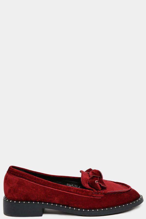 Wine Bow Front Detail Velvet Loafers-SinglePrice