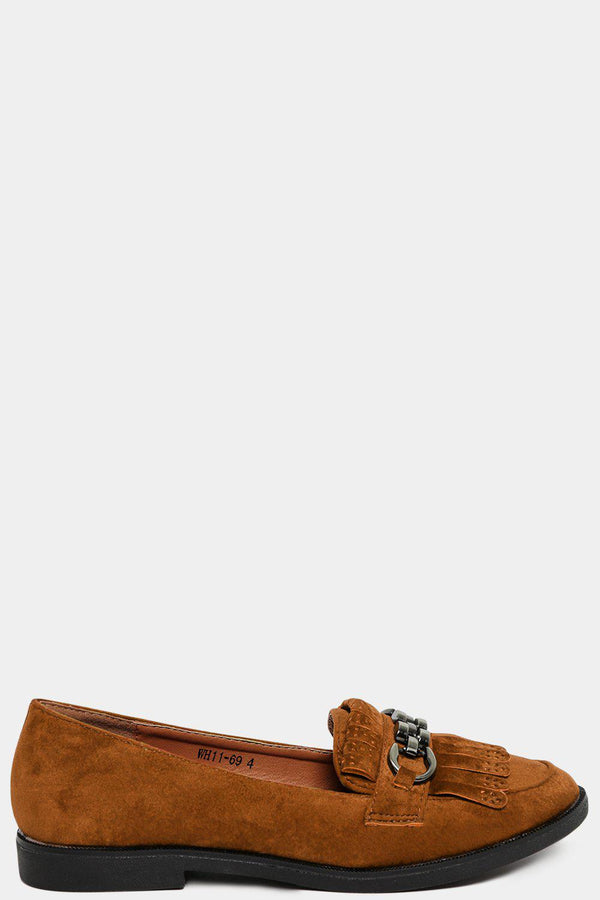 Camel Velvet Fringed Chain Detail Loafers-SinglePrice