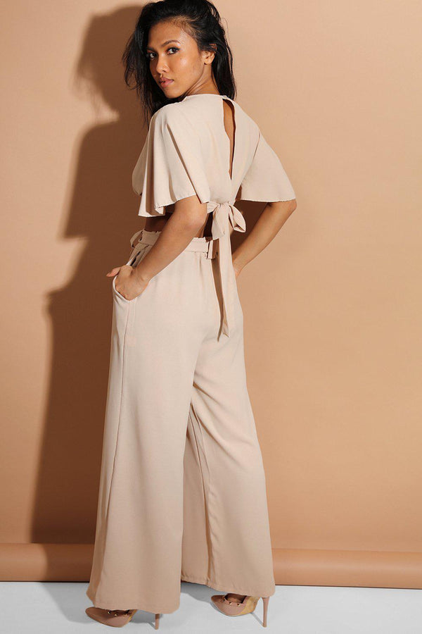 Beige Back Tie Crop Top And Palazzo Trousers Set - SinglePrice
