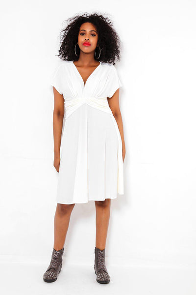 White Draped V-Neck Dress-SinglePrice